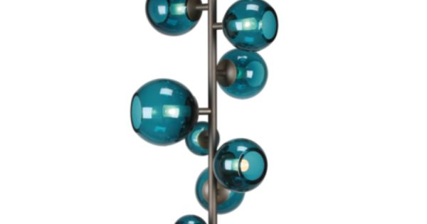 Brass And Turquoise Glass Floor Lamp By Pouenat Table