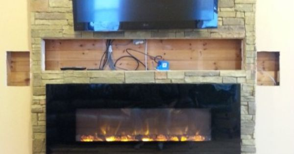Hand Color Dying Of The Brick Pattern And Replacement Of Tv And Electric Fireplace Insert Nearly