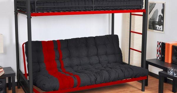 lit mezzanine modulo iii 90x190cm noir et rouge 190 chambre loulou pinterest. Black Bedroom Furniture Sets. Home Design Ideas
