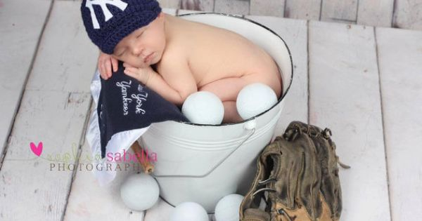 Crochet Yankees newsboy hat newborn by lilianda on Etsy, via Etsy.