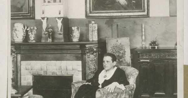 gertrude stein with picasso 39 s portrait hanging on the. Black Bedroom Furniture Sets. Home Design Ideas