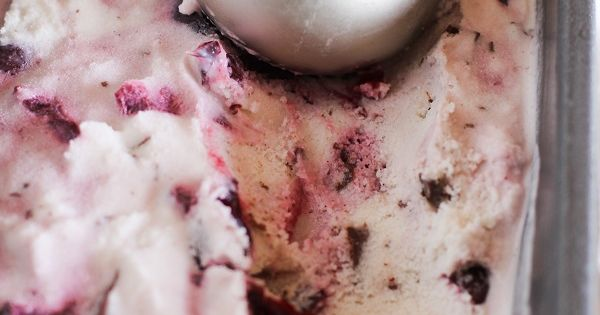 Boozy Roasted Cherry Chocolate Chunk Ice Cream (vegan and naturally sweetened) -