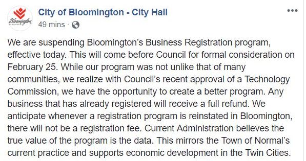 Bloomington Business Registration Suspended Bloomington