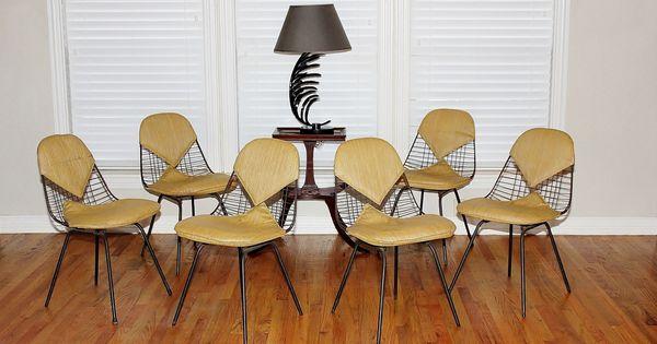 Miller charles eames wire gold bikini chairs 1950 s original