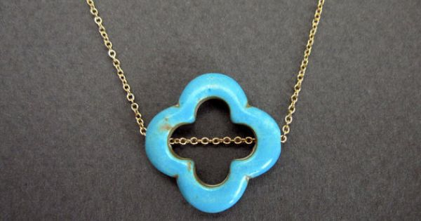 LUCK turquoise clover necklace in gold quatrefoil by VerseJewelry, $28.00