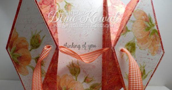 Mama Dini S Stamperia Splitcoast Tutorial Double Diamond Fold Fancy Fold Cards Shaped Cards Card Tutorials