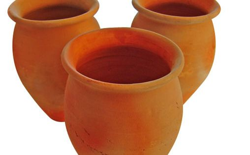 4 Jarritos Cantaritos de Barro Mexican Clay cups Ethnic clay containers SET OF 4
