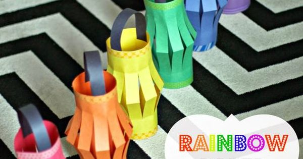 Diy rainbow paper lanterns kids craft perfect for my for My little pony craft ideas