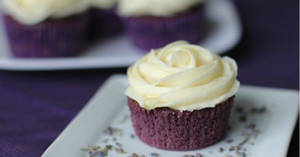what a pretty and yummy looking cupcake Lavender Cupcakes with Honey Frosting