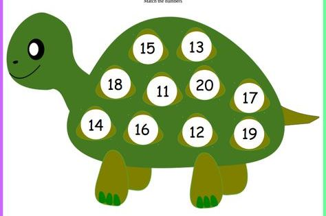 Match Numbers Turtle 11 20 Keywords Playingtots Playing Tots Playing Tots Tot Fr Math Activities Preschool Kindergarten Math Activities Preschool Activities