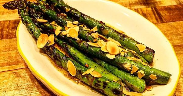 Wood grilled asparagus with Meyer lemon brown butter chile arbol mint ...