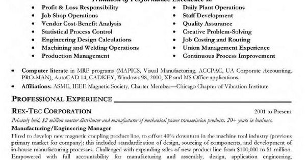 13 Sample Resume For Project Manager In Manufacturing