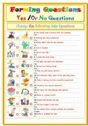 English worksheet: Forming Questions....Yes Or No Question ...