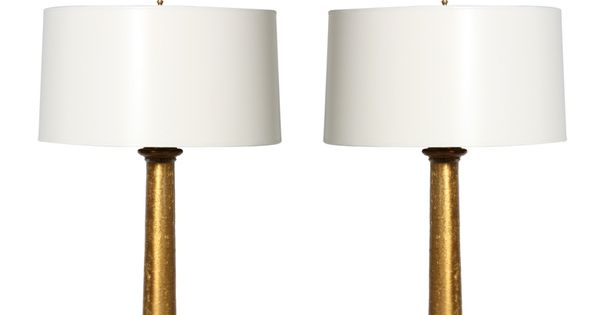 Pair Of Paul Hanson Gold Foil Lamps C 1960
