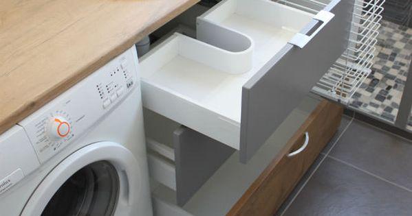 Panier linge dans meuble de salle de bain salle de - Meuble salle de bain lave linge ...