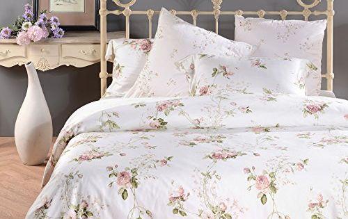 Sisbay Romantic Rose Print Duvet Cover,Vintage Tencel Floral Bedding,Chic Girls Bed Set Queen