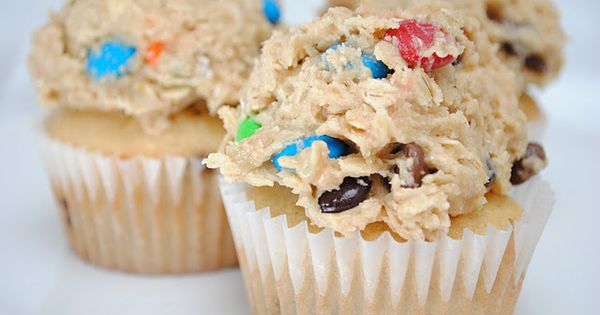 Peanut butter cupcakes with Monster Cookie Dough Frosting. Has a recipe that