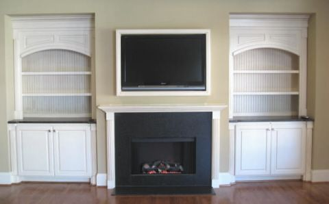 Pictures Of Electric Fireplaces With Bookcases This Is An Electric Fireplace Artificial Flames W Small Basement Remodel Cool Apartments Fireplace Bookshelves