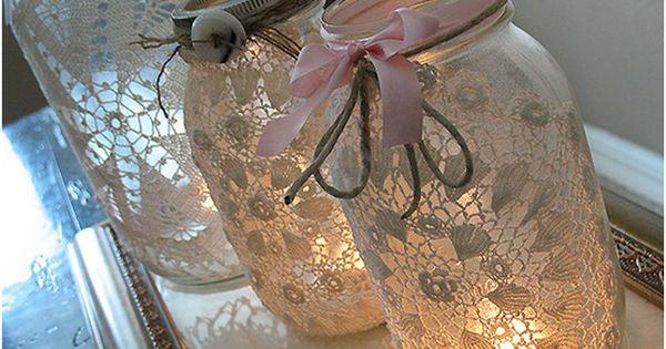 Doily mason jar luminaries. Easy DIY project. masonjars