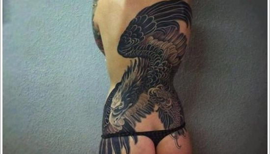 eagle tattoo design for women on back. Black Bedroom Furniture Sets. Home Design Ideas