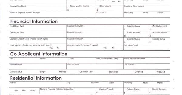 auto loan credit application form