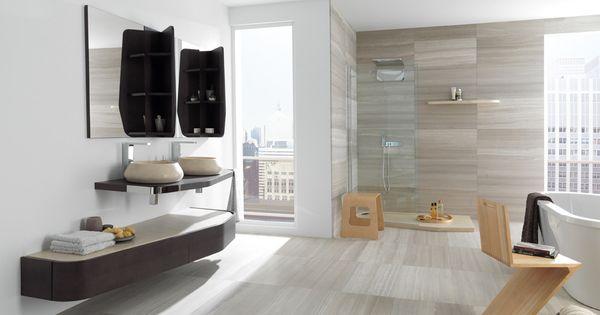 Travertino silver wood porselanosa houten badkamer houtlook badkamer salon tiles - Houten lambrisering plafond badkamer ...