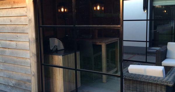 Democo stalen schuifdeur onder een veranda stalendeuren staal deur tuin in to style - Schuifdeur deur ...
