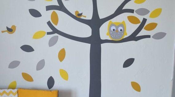 Sur commande stickers arbre hibou et petits oiseaux - Stickers chambre bebe arbre ...