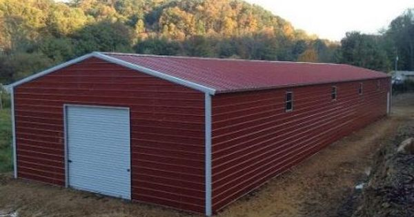 509 Red Metal Garage With Vertical Roof Elite Metal Structures Metal Garages Metal Buildings Container House Plans