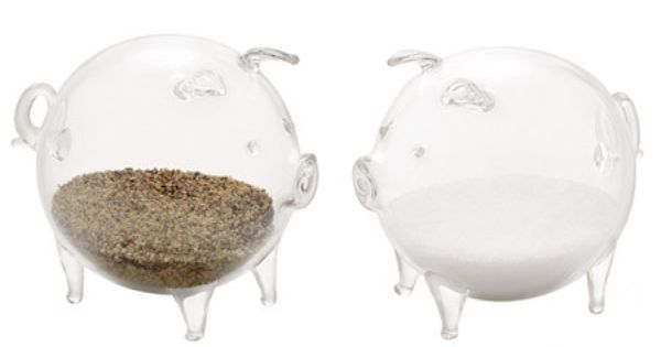 Glass Pig Salt and Pepper Shakers Set by KTF. $14.99. Imported. Fun