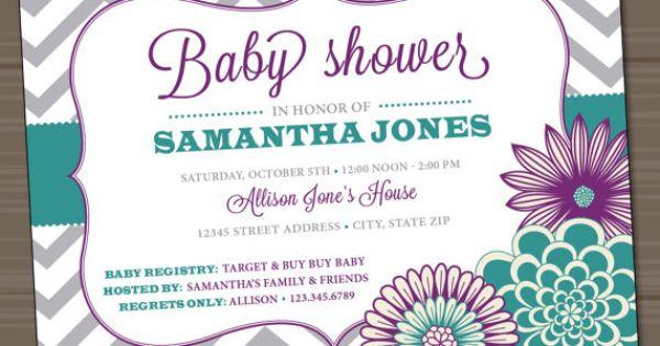 Baby Girl Shower Invitation Chevron Floral by InvitingDesignStudio, $18.00