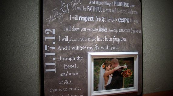 Wedding Day Gift For Wife: Wedding Vows Personalized Wedding Frame, Bride Gift, Groom