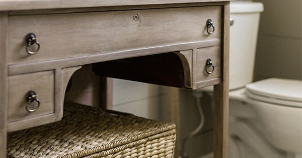 Guest Bathroom Vanity Refinish Weathered Wood Lime Paint Antique Vanity Vanities And Limes