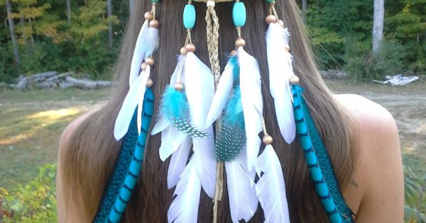 I WANT THIS SO BADLY Turquoise Princess - Feather headband, native american,