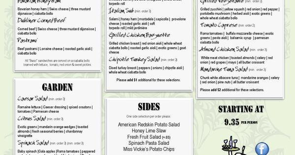 2012 catering executive box lunch menu branmor s american grill