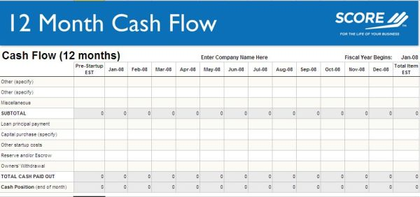 12 month cash flow