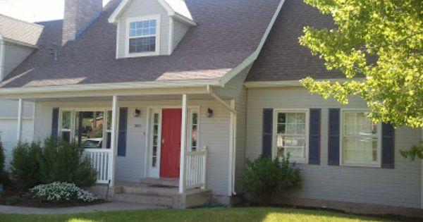 Red Door Grey House gray house, bright red door, navy blue shutters, charcoal gray