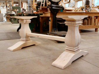 Modern Pedestal Table Bases Contemporary Solid White Maple