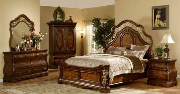 Mollai Collection 6pc Bedroom Set With Cherry Finish