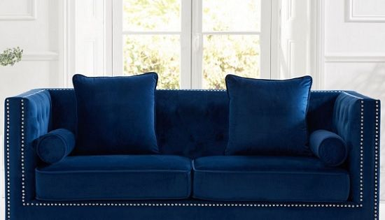Mulberry Modern Fabric 3 Seater Sofa In Blue Velvet Blue Velvet Sofa Velvet Furniture Sofa