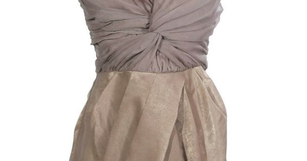 Whipped Mocha Twisted Chiffon Strapless Dress at Lily Boutique (lilyboutique.com)