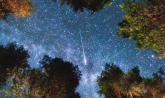 Shooting star in Edsbyn, Sweden. What a beautiful night sky.