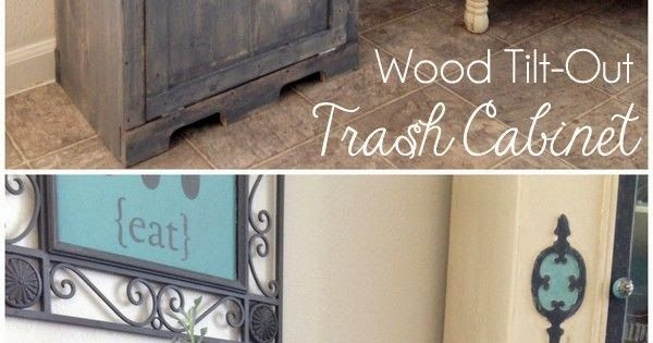 How Clever is this ? DIY Wood tilt out trash cabinet !