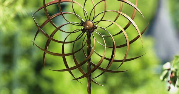 pinwheel kinetic garden wind spinner with stake