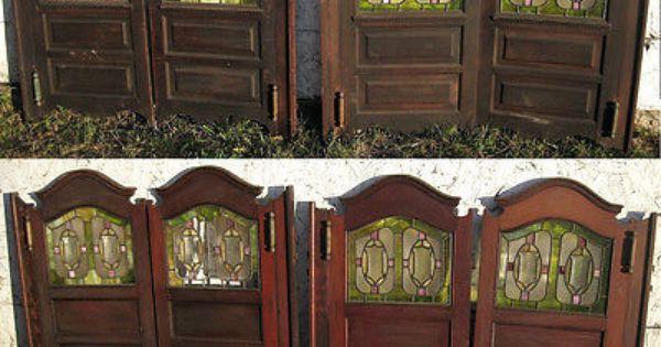 2 Matching Pairs Of Victorian Saloon Doors Leaded Glass Raised Panels Leaded Glass Saloon Decor Custom Door