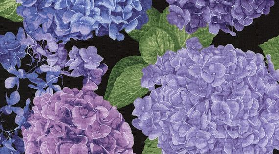 Purple Hydrangea Cotton Fabric Collection By Timeless
