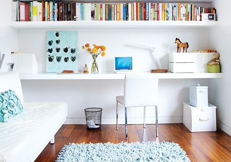 Home office idea. Love the wall to wall shelving!