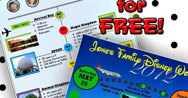custom Disney World itinerary templates | Templates Free, Templates ...