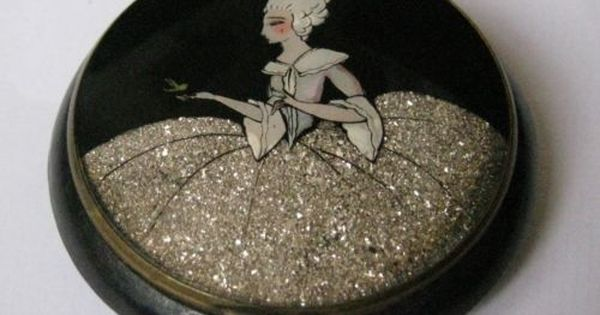 Genuine Art Deco Powder Compact Rare Celluloid French Vintage Glitter Lady Ebay Art Deco