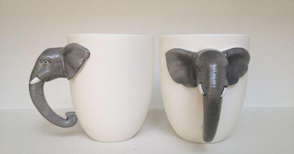 Elephant mugs pair art pinterest - Jonathan adler elephant mug ...